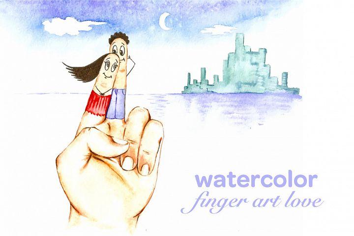 watercolor finger art love