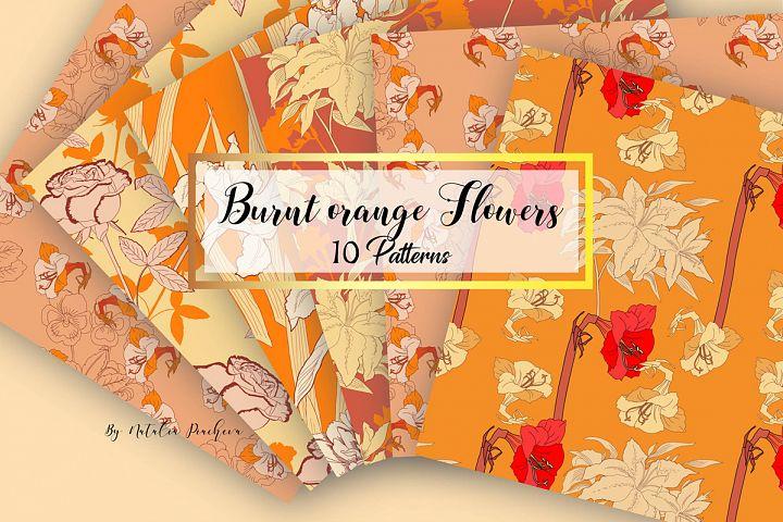 Digital Paper Burnt Orange Flowers