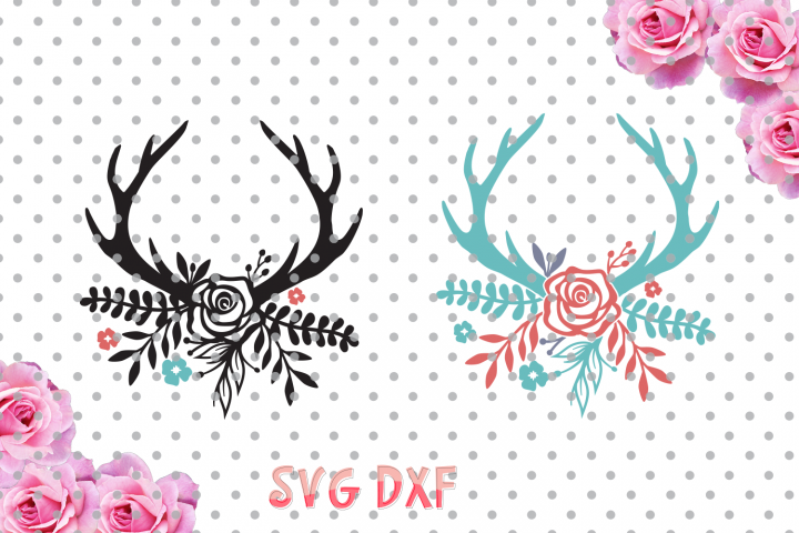 Floral Antlers Svg, boho svg, antlers, flowers svg, SVG, DXF, Cricut Designs, Silhouette Studio, Digital Cut Files, arrows svg,
