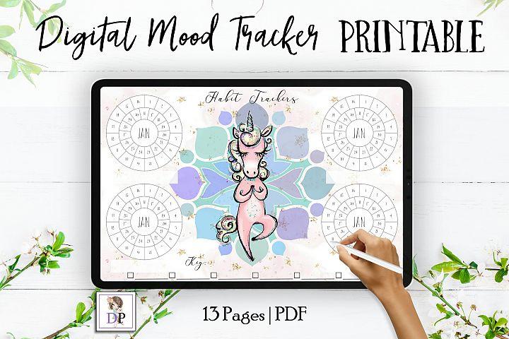 Digital Habit Trackers Y1 Yoga Series for Planner PRINTABLE