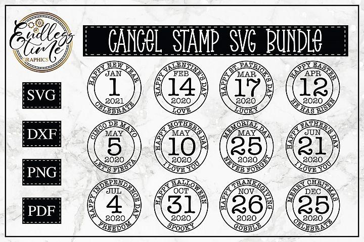 Cancel Stamp SVG Bundle - Inspired by Postage Cancel Stamps