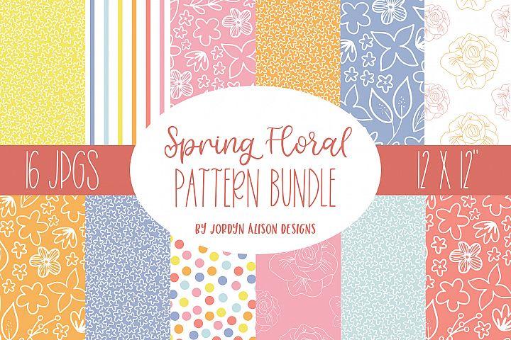 16 Spring Floral Digital Papers, Summer Pattern
