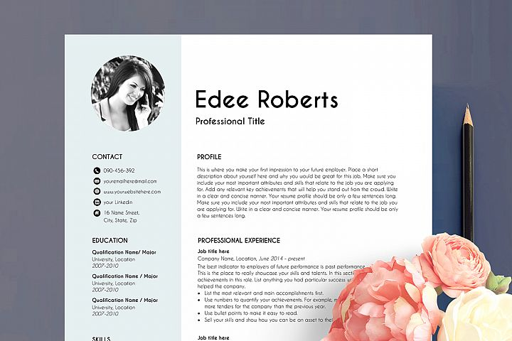 resume template with photo, professional resume, blue
