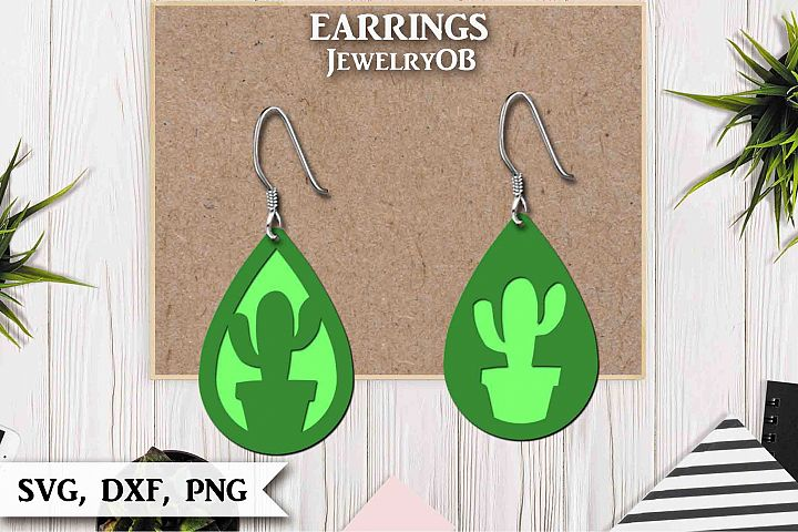 Cactus Earrings, Cut File, SVG DXF PNG, Teardrop
