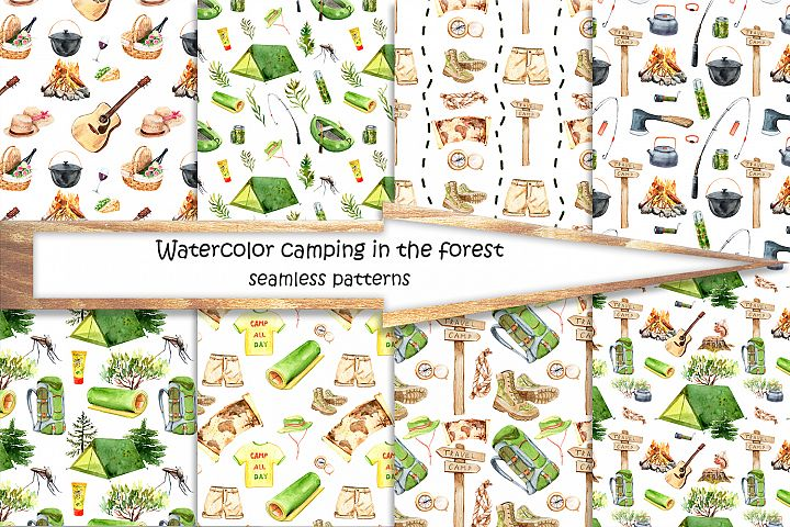 Watercolor hike in the forest camping example image 2