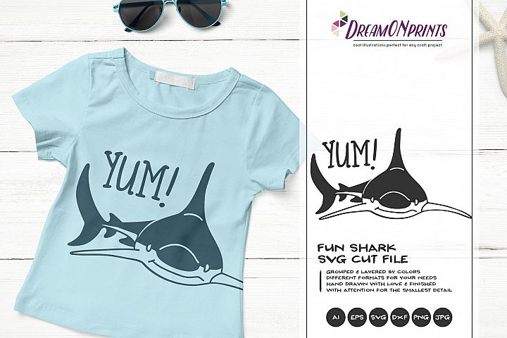 YUM! | A Fun Shark SVG | Funny Shark Illustration