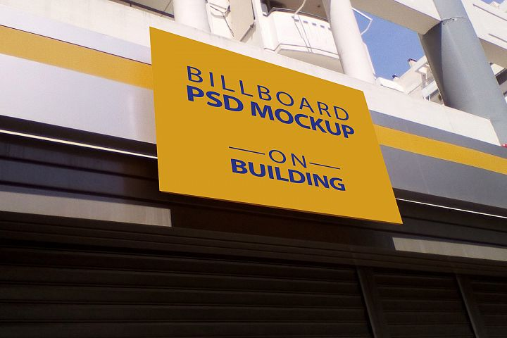 Billboard Mockup on Building - 5 PSD Templates