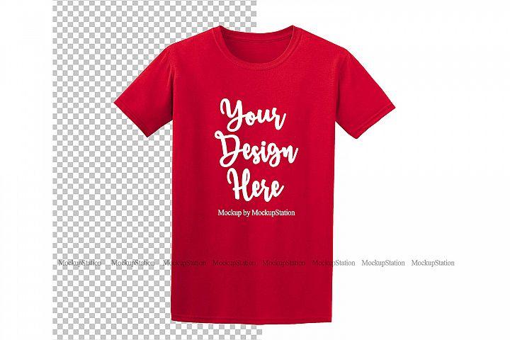 Red Gildan Shirt Mockup On Transparent & White Background