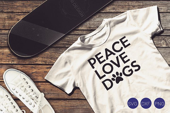 Peace Love Dogs SVG, DXF, PNG Cut File