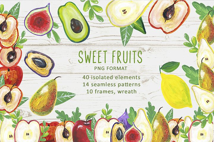 Watercolor sweet Fruits