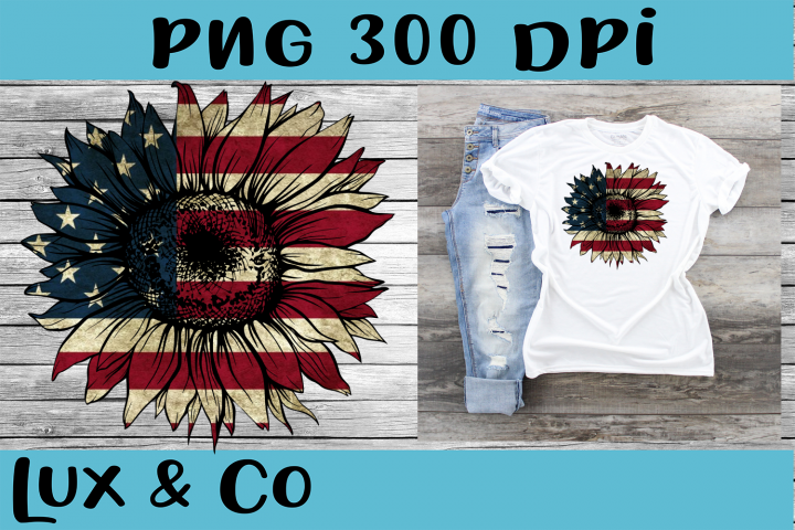 Sunflower American Flag Sublimation PNG