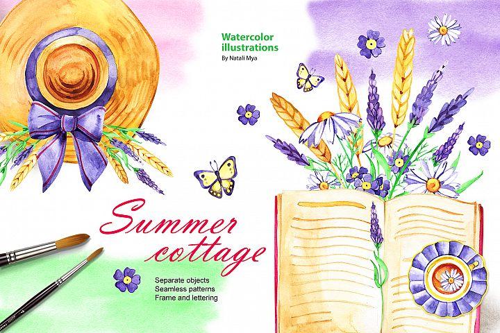Watercolor summer cottage set