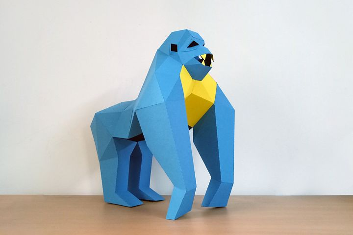 DIY Gorilla Sculpture - 3d papercraft