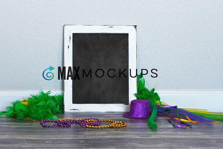 White Framed Chalkboard Mockup, Mardi Gras, also tan insert