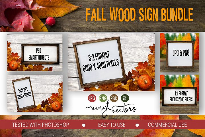 Fall Wood Sign Mock up Bundle PSD JPG PNG