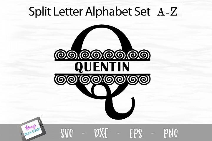 Split Letters A-Z - 26 Split Monogram SVG files with spirals