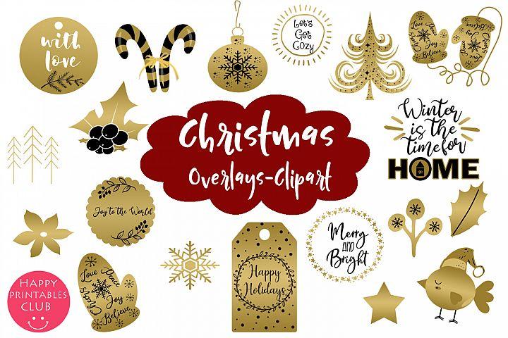 Christmas Clipart- Christmas Overlays-Holiday Graphics