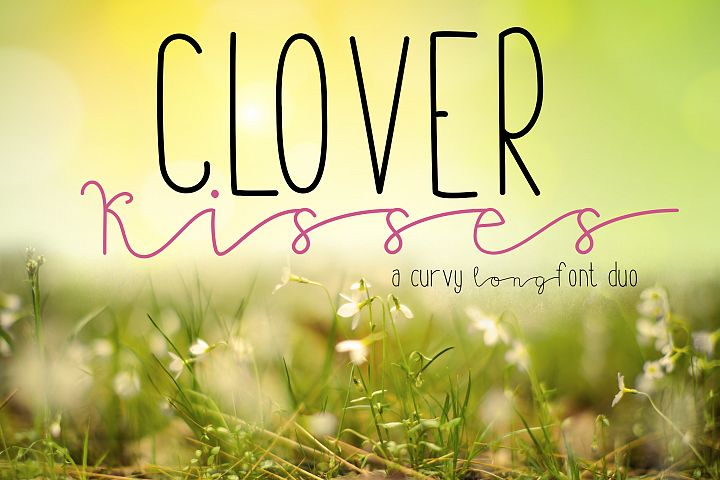 Clover Kisses| A Curvy Long Skinny Font Duo