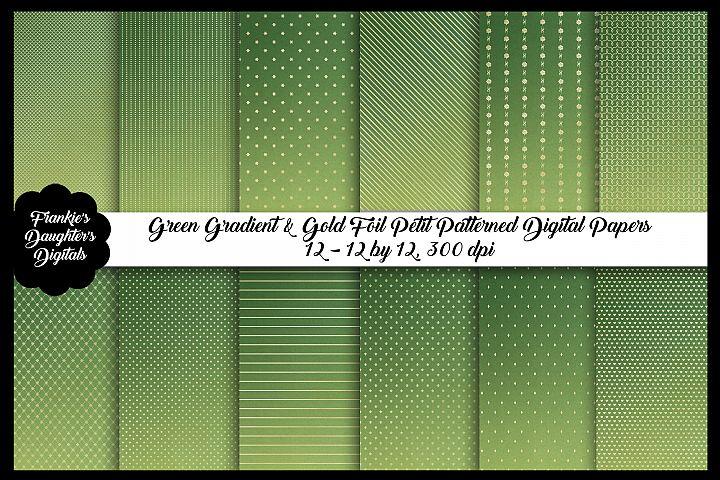 Emerald Green Ombre & Gold Foil Christmas Digital Paper