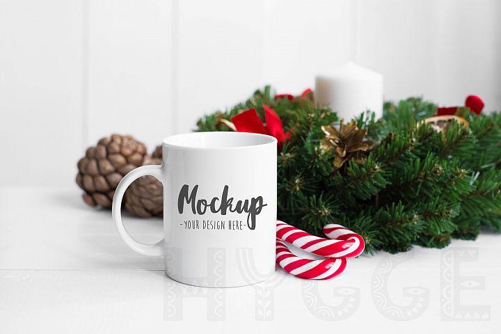 Christmas Mug Mockup Cup Mockup White Christmas Winter Mock