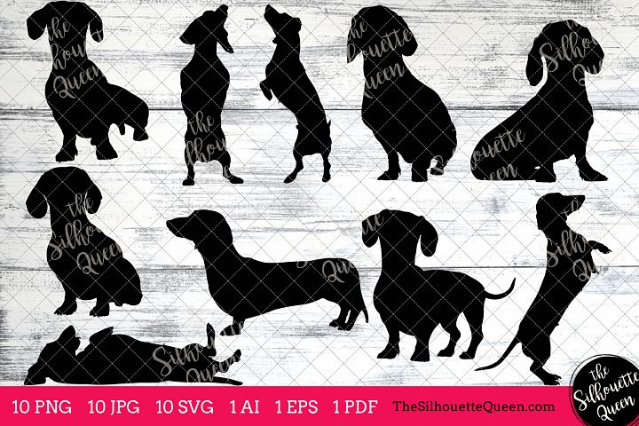 Dachshund Dog Silhouettes Clipart Clip Art (AI, EPS, SVGs, JPGs, PNGs, PDF) , Dachshund Dog Clipart Vectors - Commercial and Personal Use