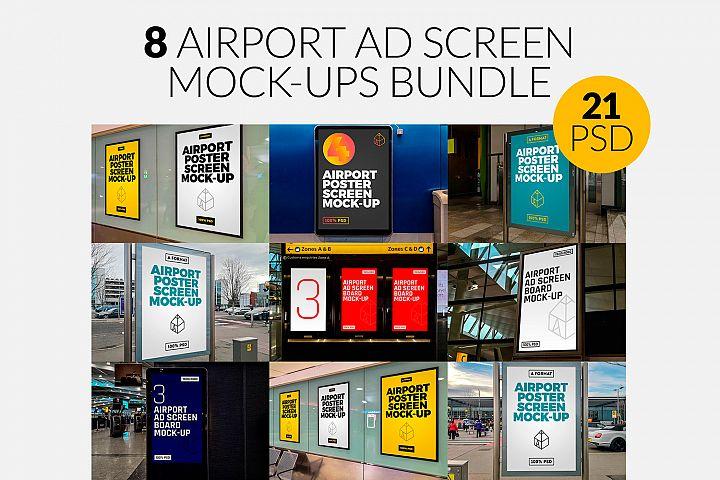 8 Airport Ad Screen Mock-Ups Bundle