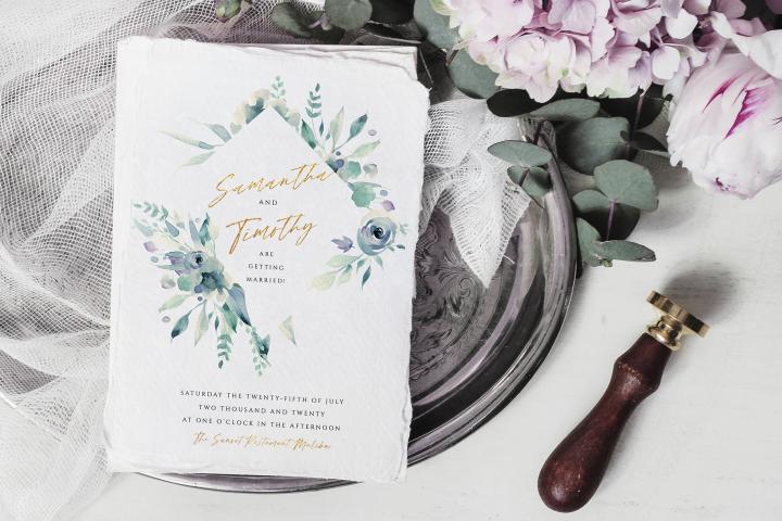 Purple & Gold Wedding Invite Template