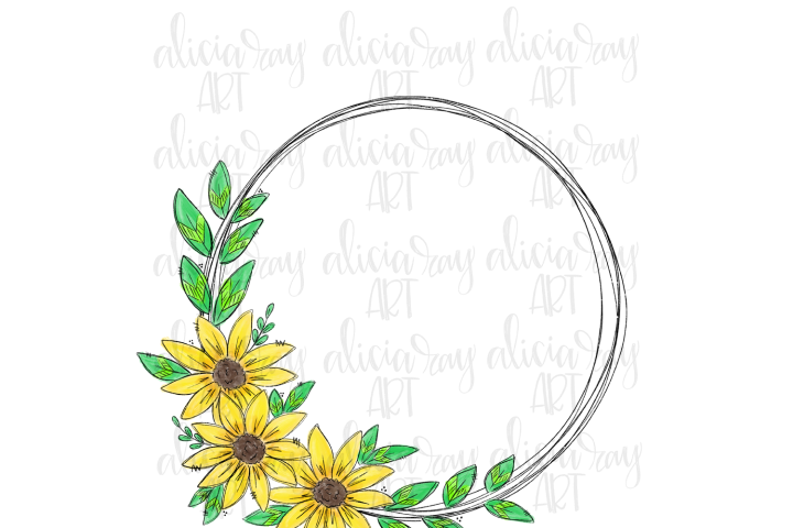 Sunflower Wreath Sublimation PNG Digital