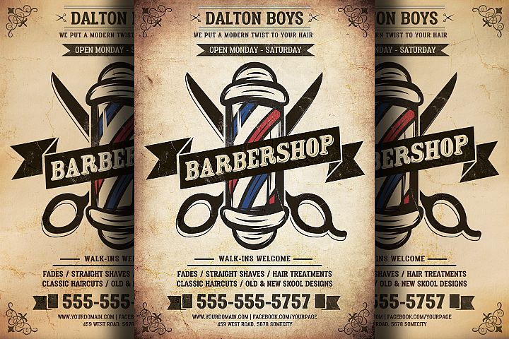 Vintage Barber Shop Flyer Template