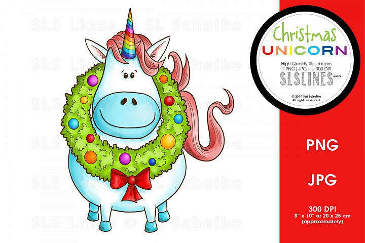 Christmas Unicorn with Rainbow Wreath PNG
