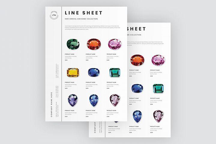 Portrait line sheet flyer layout