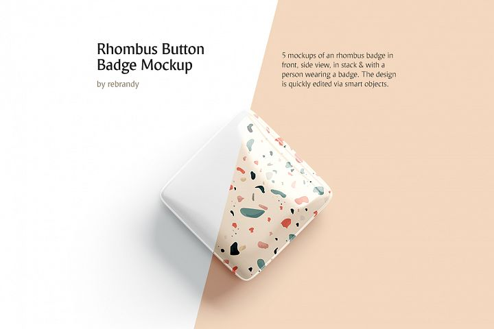 Rhombus Button Badge Mockup