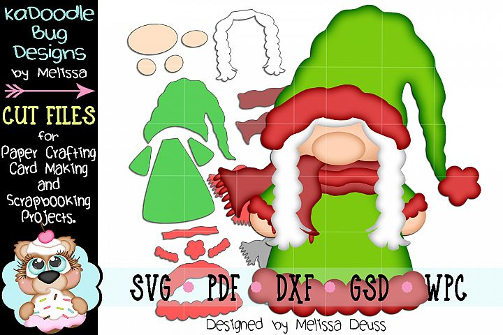 Winter Christmas Girl Gnome Cut File - SVG PDF DXF GSD WPC
