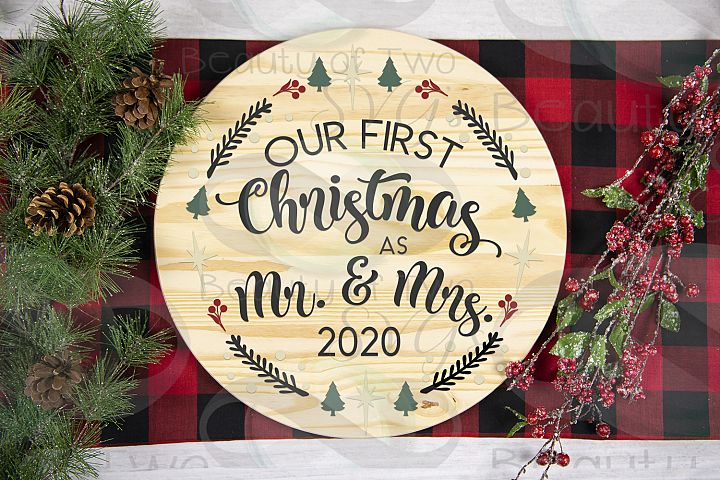 Our First Christmas as Mr & Mrs 2020 wreath svg newlywed svg