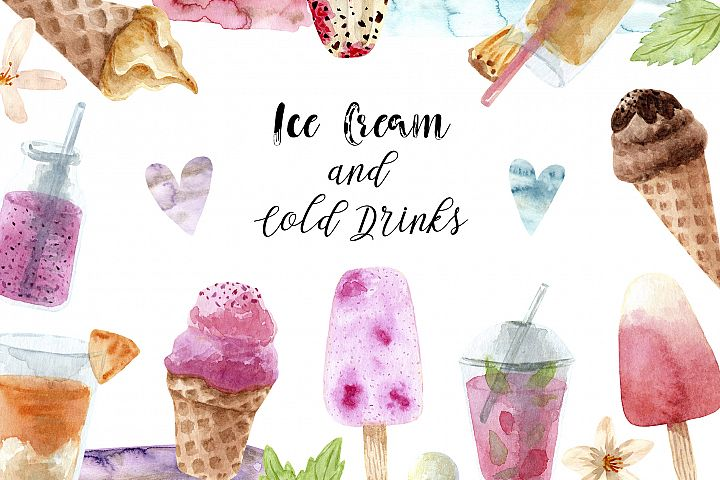 Watercolor Ice Cream and Cold Drinks. Seamless Patterns