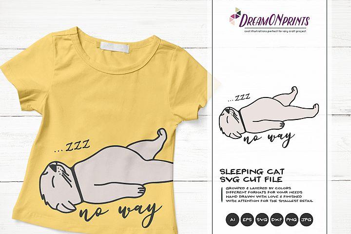 Sleeping Cat SVG | Funny Kitten Illustration
