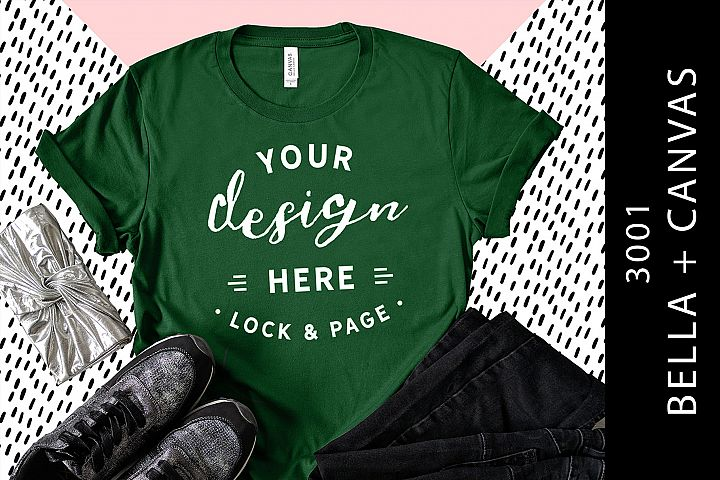 Evergreen Bella Canvas 3001 T-Shirt Mockup On Cool Patterns