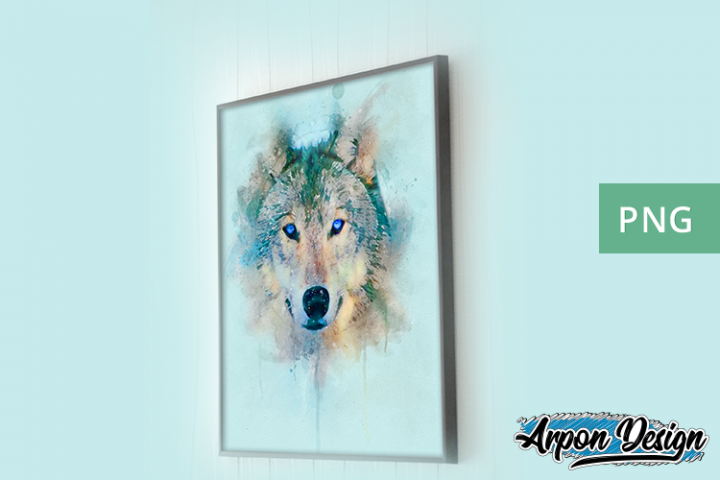 Digital watercolor wolf PNG