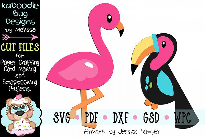 Tropical Birds Cut File - SVG PDF DXF GSD WPC