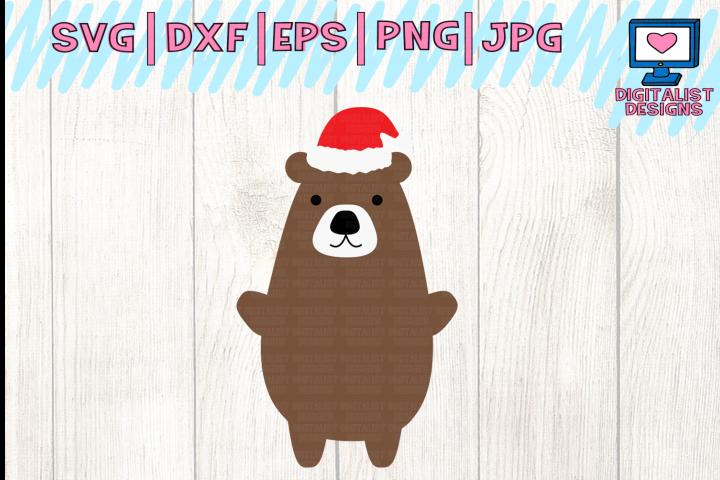 bear svg, santa hat svg, christmas svg