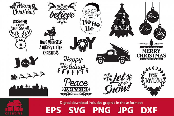 Christmas quotes bundle - SVG, EPS, JPG, PNG, DXF files