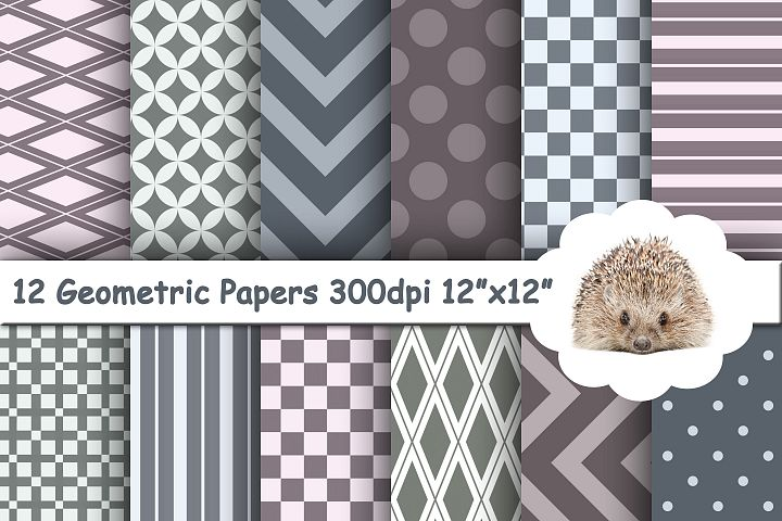 12 Grey and Purple Geometric Textured Papers / Backgrounds