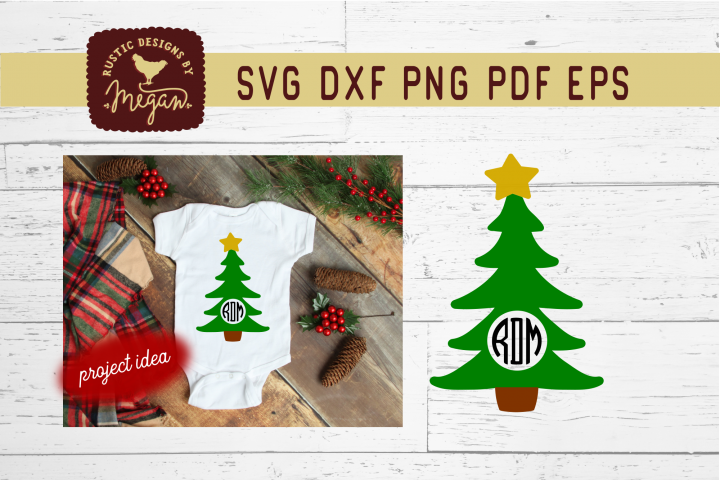 Christmas Tree Monogram SVG Cut File