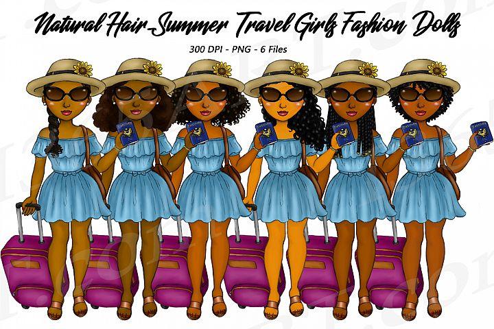 Summer Travel Clipart Girls, Natural Hair, Fashion Dolls