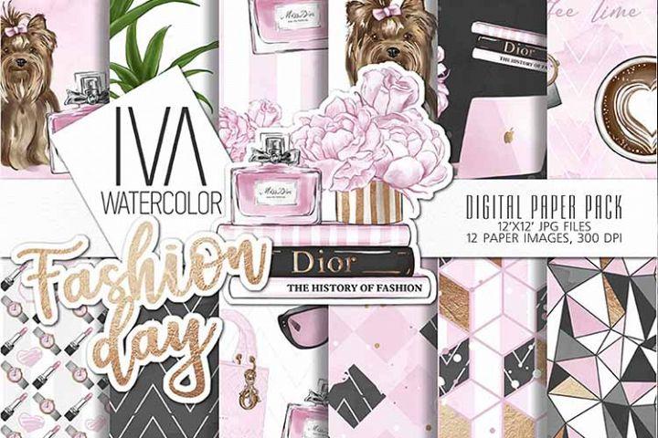 Fashion Day Digital Paper, Fashion Digital Accessories