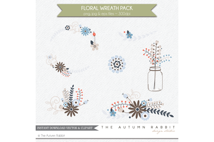 Floral Wreath Clipart Vectors example 2
