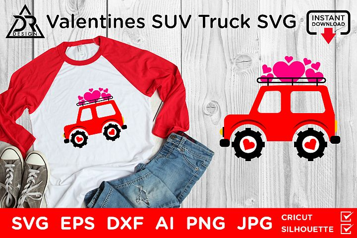 Valentines SUV Truck SVG