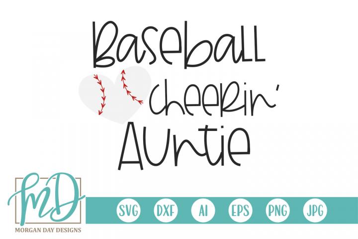 Baseball Heart - Baseball Cheerin Auntie SVG