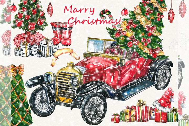 Christmas clipart, red car,retro car, old car clipart