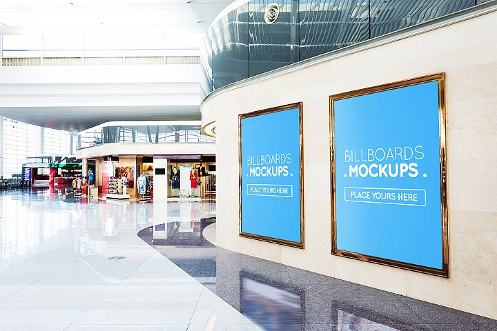 +25 Billboards in Mall Mockups